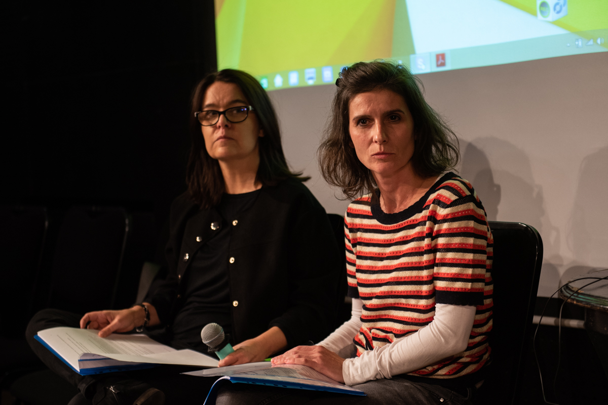 From the left: Iwona Kempa and Iga Gańczarczyk during the 'Change - now!' conference, Teatr Ochoty, Warsaw, 8 October 2019, photo: Marta Ankiersztejn